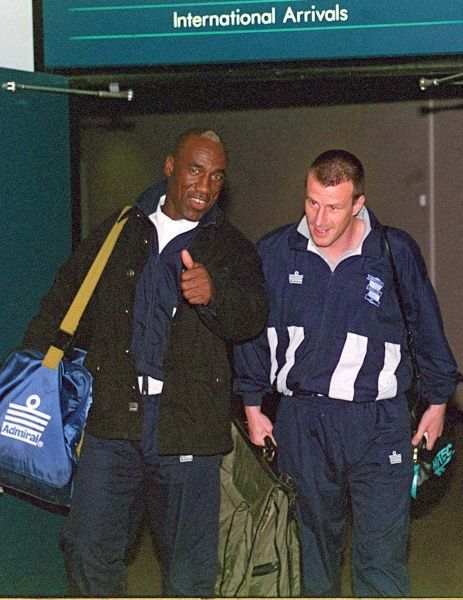 Birmingham City players Ed Steen (left) and Steve Claridge arrive at Birmingham Airport after the Anglo Italian clash