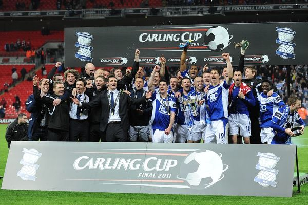 Birmingham City celebrate victory after the final whistle