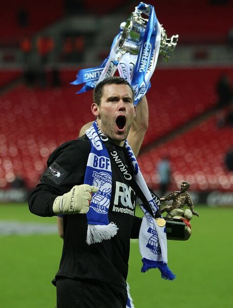 Birmingham City's Ben Foster poses with his man of the match trophy