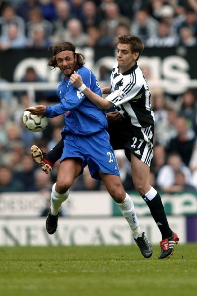 Newcastle United's Jonathan Woodgate and Birmingham City's Christophe Dugarry