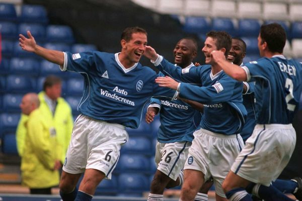 Birmingham City's David Holdsworth (l) celebrates scoring his team's third goal of the afternoon