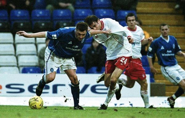 Birmingham City's Geoff Horsfield (l) tussles with Nottingham Forest's Christian Edwards (r)