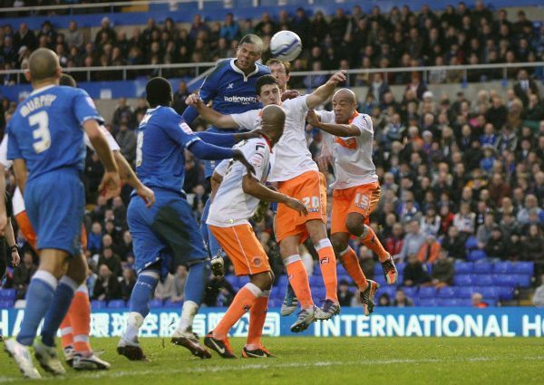Birmingham City's Curtis Davis scores with a header during the npower Championship match at St Andrews, Birmingham