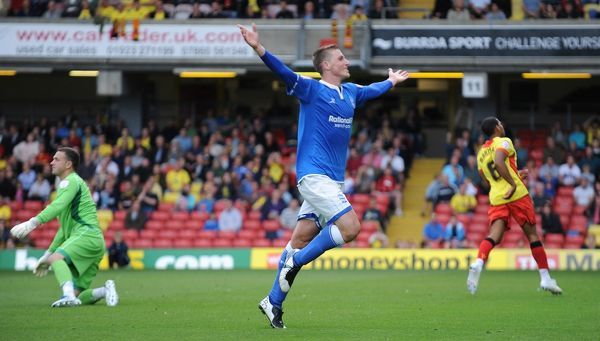 Birmingham City's Chris Wood celebrates after scoring his sides second goal against Watford