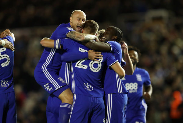 Birmingham City's Michael Morrison celebrates with team mates after scoring the first goal