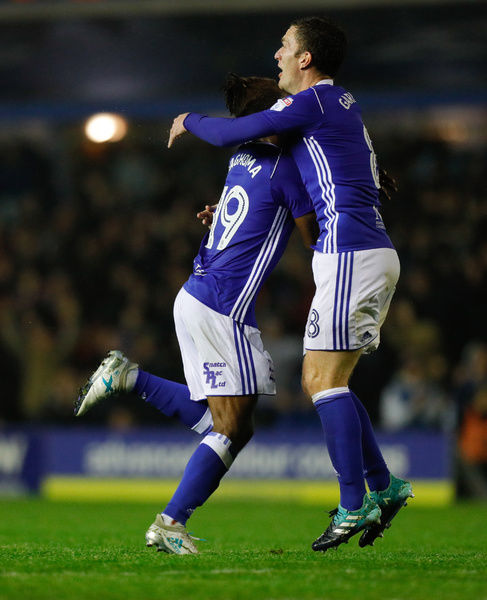Birmingham City's Jacques Maghoma celebrates teammate Isaac Vassell's (not pictured) goal during the Sky Bet Championship match at St Andrew's, Birmingham