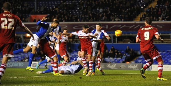 Birmingham City's Kyle Bartley (left) scores his side's second goal of the game against Middlesbrough