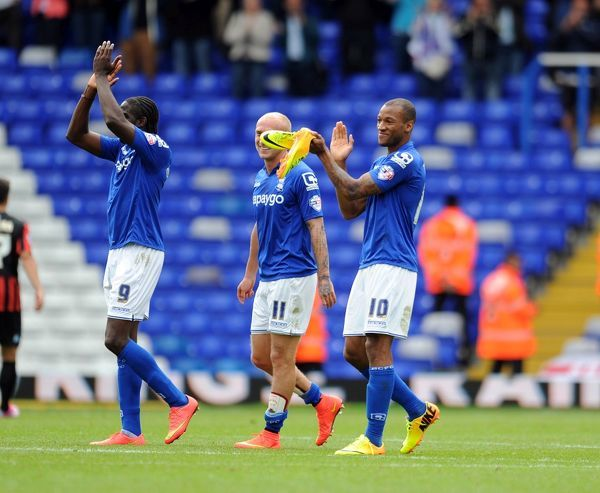 Birmingham City's Wesley Thomas (Right) celebrates his sides victory after the final whistle