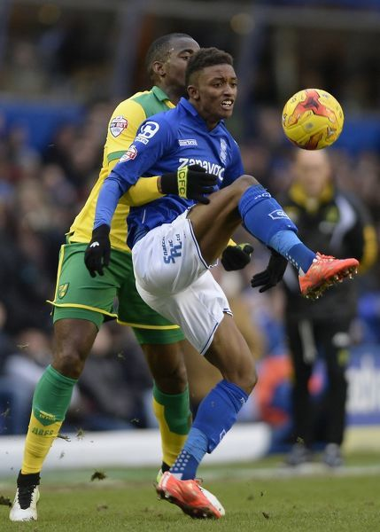 Norwich City's Sebastien Bassong (left) and Birmingham City's Demarai Gray (right) battle for the ball
