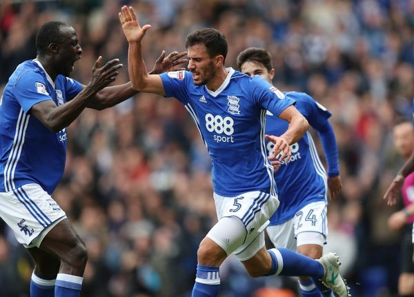 Birmingham City's Maxime Colin celebrates scoring the first goal