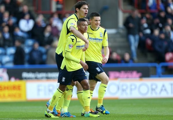 Birmingham's Nikola Zigic celebrates scoring the opening goal during the Sky Bet Championship match at the John Smith's Stadium, Huddersfield