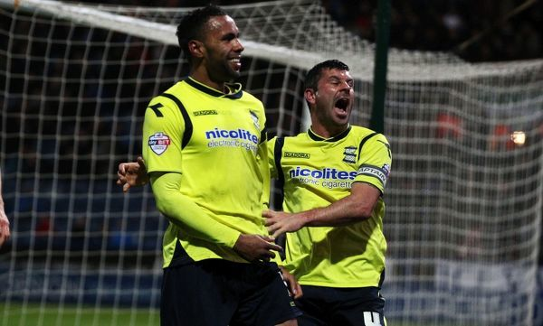 Birmingham's Kyle Bartley celebrates with Paul Robinson during the Sky Bet Championship match at the John Smith's Stadium, Huddersfield