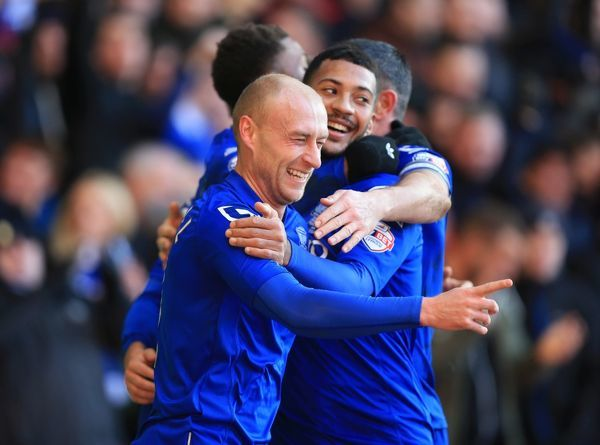 Birmingham City's David Cotterill celebrates his goal with Andy Shinnie