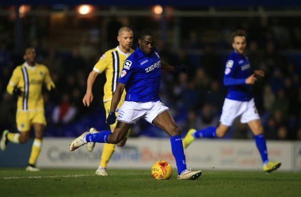 Birmingham City's Clayton Donaldson shot at goal is saved by Millwall goalkeeper David Forde