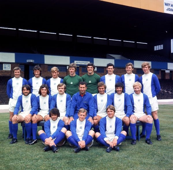 Birmingham City team group: (back row, l-r) Gary Pendrey, Phil Summerill, Keith Bowker, Mike Kelly, Dave Latchford, Roger Hind, Bob Thomson, David Robinson; (middle row, l-r) Bob Latchford, Trevor Francis, Ray Martin, manager Freddie Goodwin