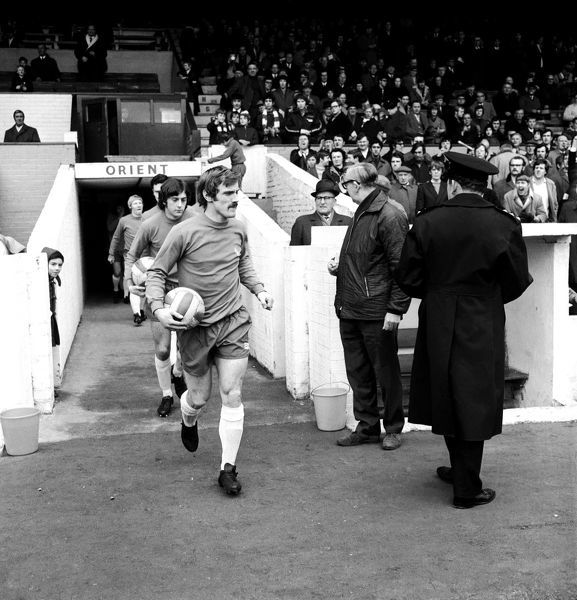 (R-L) Birmingham City's Ray Martin leads his team out at Brisbane Road, followed by teammates Trevor Francis, Roger Hynd and George Smith