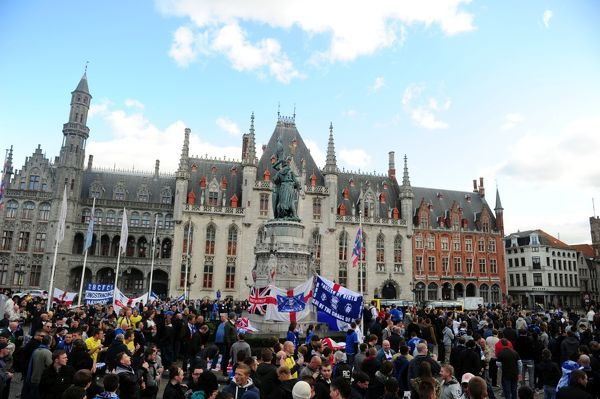 Birmingham City fans gather in the main square of Brugge ahead of tonights game at the Jan Breydel Stadium