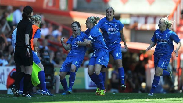Birmingham City's Karen Carney (4th from right) celebrates after scoring the equalising goal against Chelsea in injury time