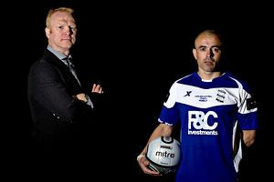 Birmingham City manager Alex McLeish (l) and Stephen Carr