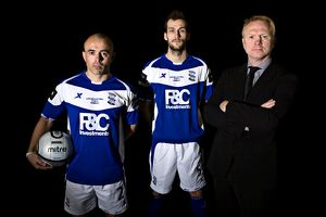 L-R: Birmingham City's Stephen Carr, Roger Johnson and manager Alex McLeish